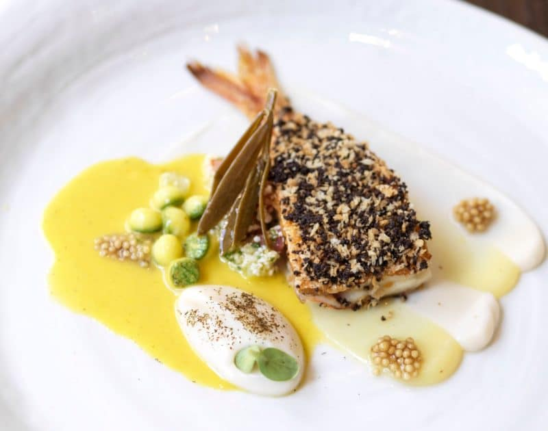 Olive crusted red mullet, cauliflower puree and citrus & basil sauce